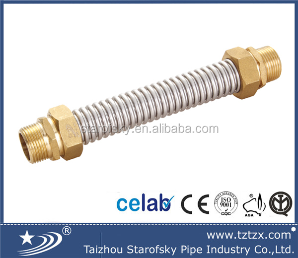 stainless steel corrugated air condition hose with brass fitting