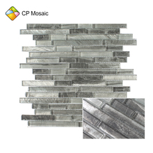 China Foshan Factory Price Manufacturer Strip Glass Designs Mosaic Wall Tiles For Living Room