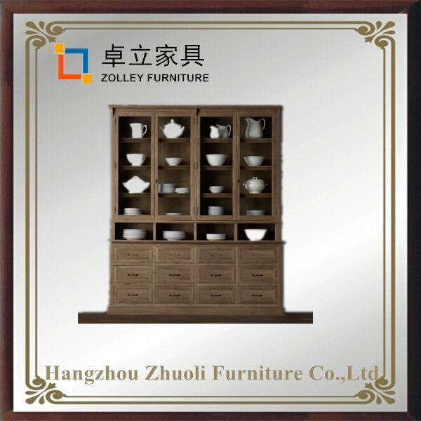 Antique style China High quality oak solid wood cabinets design for living room
