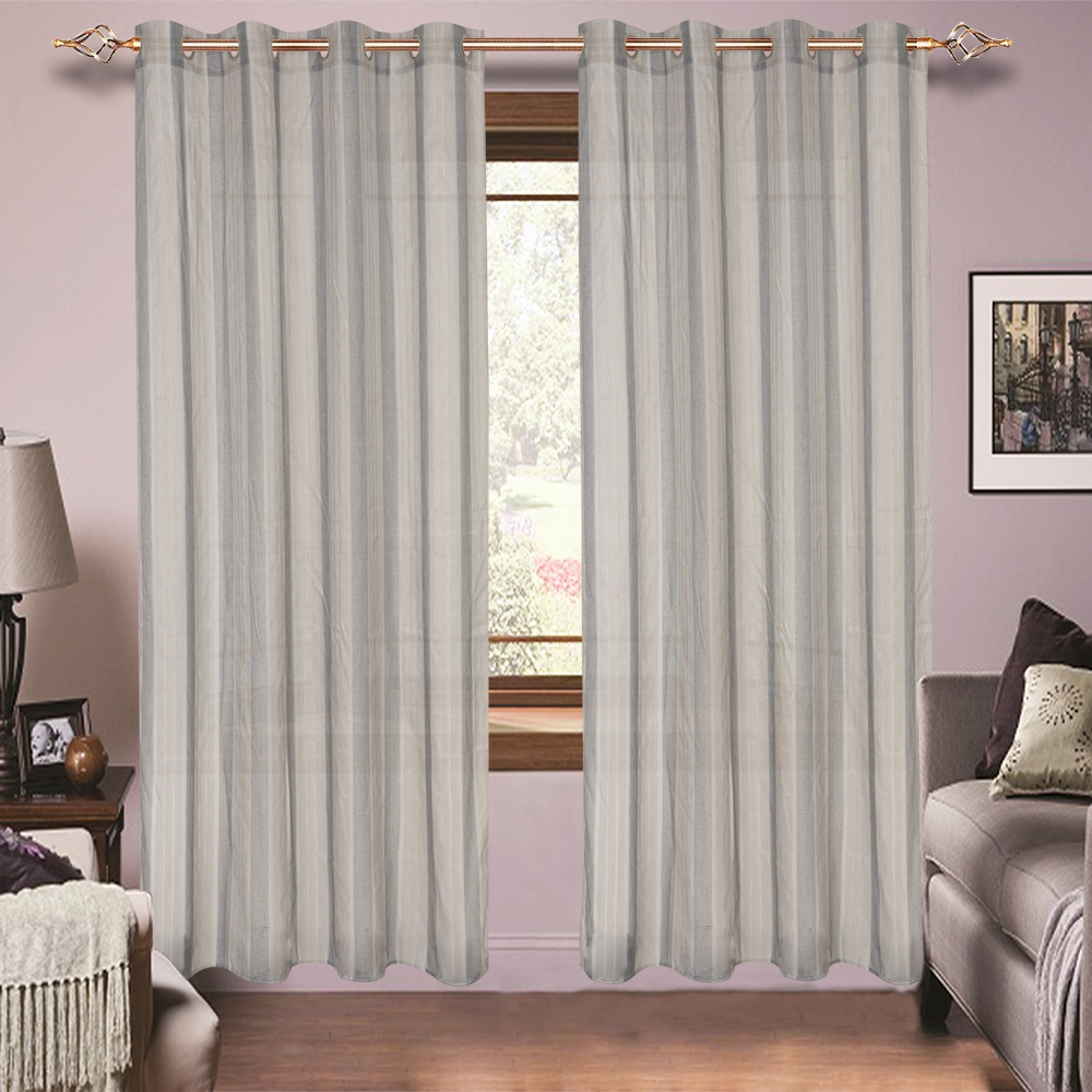 Brown and Gray Voile Organza Decorative Strip Curtain