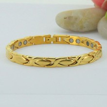 2012 Hotsell men plated gold magnets bracelet bangles