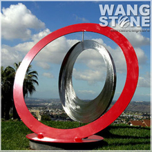 Large Modern Red Rings Stainless Steel Outdoor Sculpture