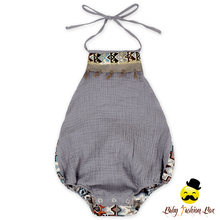 HYB175 Yiwu Yihong Solid Color Baby Grey Cotton Stitching Retro Boys&Girls Infant Romper