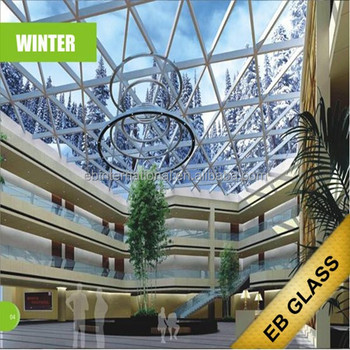 Milk White Laminated + insulated temperature control dimming/smart glass in summer laminated glass, EB GLASS