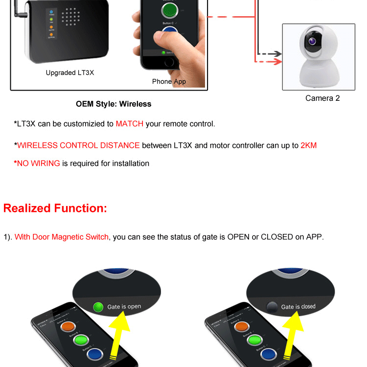 Mobile App Control WIFI Switch for Automatic Sliding Gate Opener