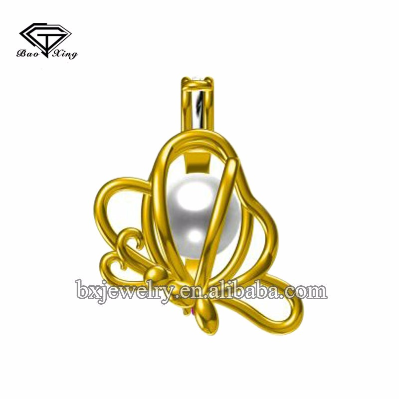 Hot jewelry trends 2017 custom design elegant butterfly pearl cage pendant
