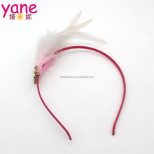 Pink feather baby headband for girls rhinestone hair accessories