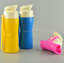 flexible foldable wearable traveling silicone rubber sport collapsible water bottle with soft ring strainer filter