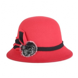 Wholesale good quality red color faux wool felt Flower Bucket Cloche Hat with pom