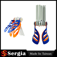 Blue Orange Chrome Vanadium Hex Keys 6 Pcs Bug Style Holder Folding Hex Key