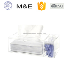 Deluxe Clear Acrylic Counter Top Multi Compartment Q-tip Storage Organizer Box Tray with Tissue Dispenser Box