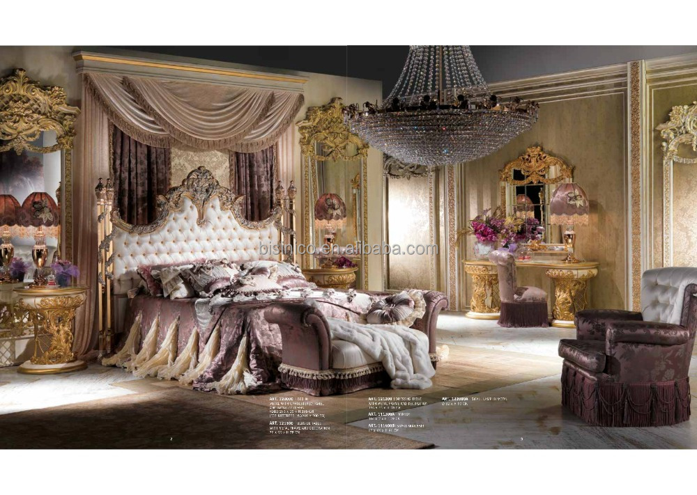 Nouveau Ornate Luxury Design Brass Decorated Bedroom Furniture, Exquisite Wood Carved Button Tufted Upholstered Bedroom Bed