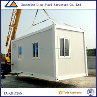 Prefabricated steel frame house glass container modular homes for Indian