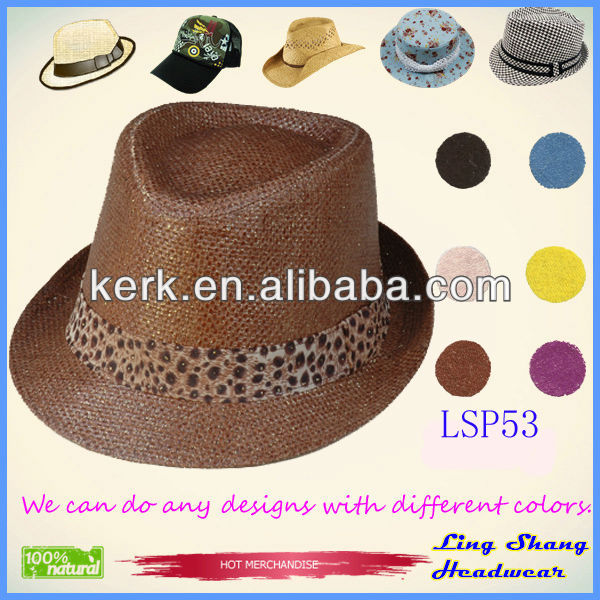 2013 Nice Brown Plaited 100% Paper Straw Hat ,LSP53