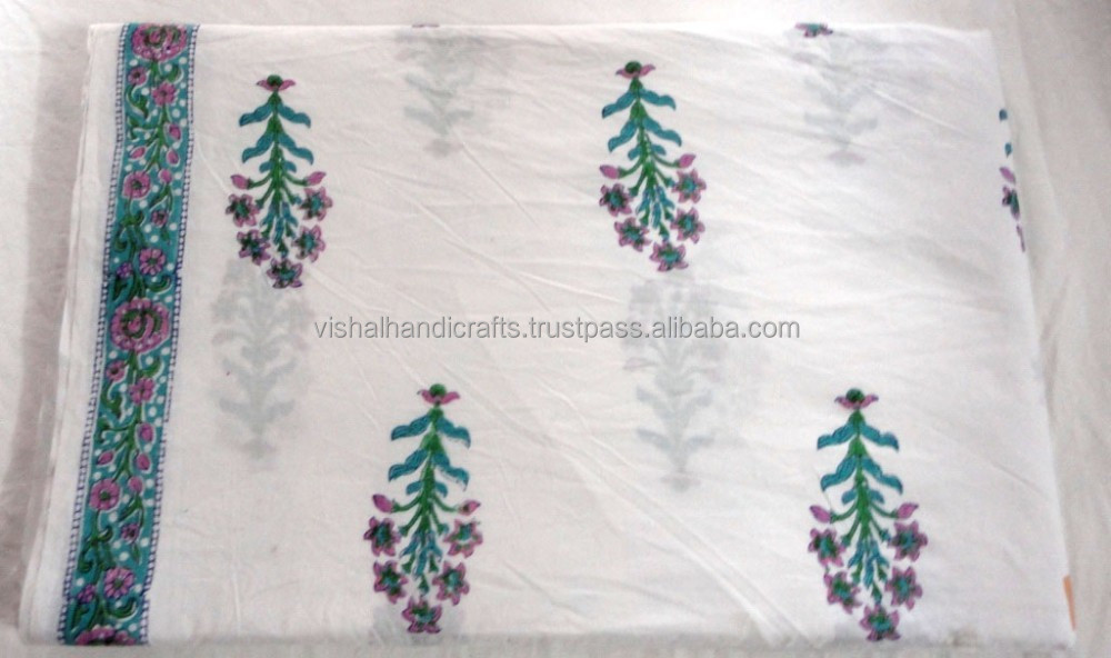 Floral Sanganeri Hand block printed pure natural cotton 100% cambric running fabric wholesaler manufacturer from india