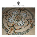 private villa foyer design beige mixedcolor round marble inlay floor pattern