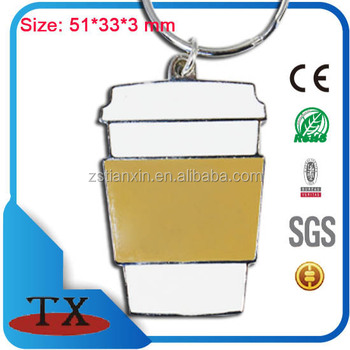 Famous coffee cup shape metal keychain