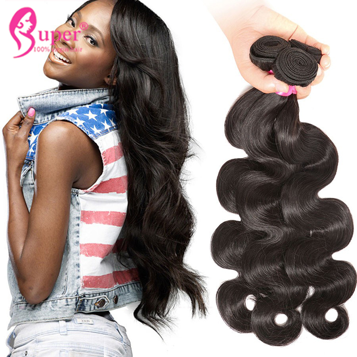 Hair Extensions For Black Natural Chinese Virgin Hair Heave Bundle With Lace Closure 4x4 Body Wave