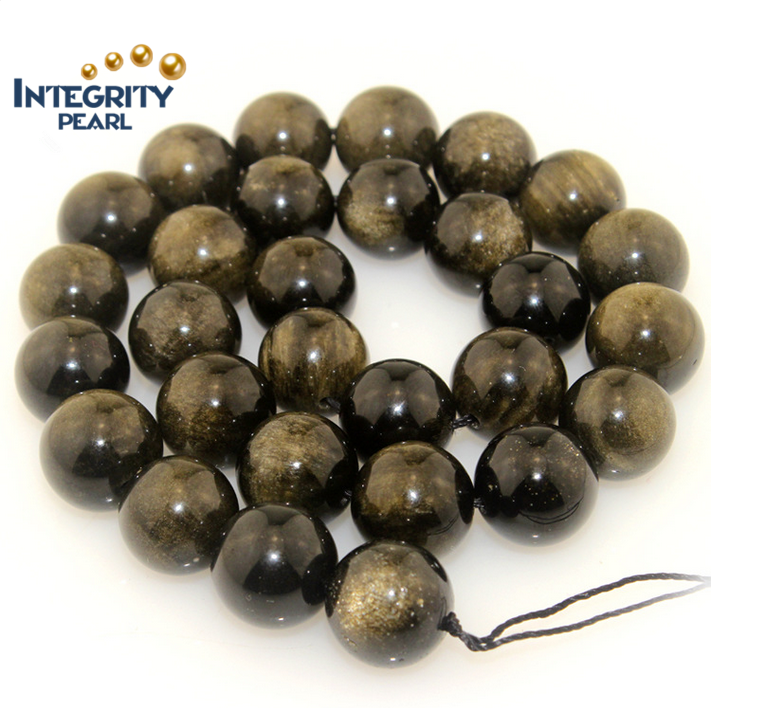 Natural gemstone loose strand round 6 8 10 12mm wholesale golden natural obsidian