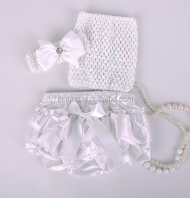 Hot sell Adorable baby diaper and crochet tube top3 sets , satin baby bloomers, baby ruffle bloomers