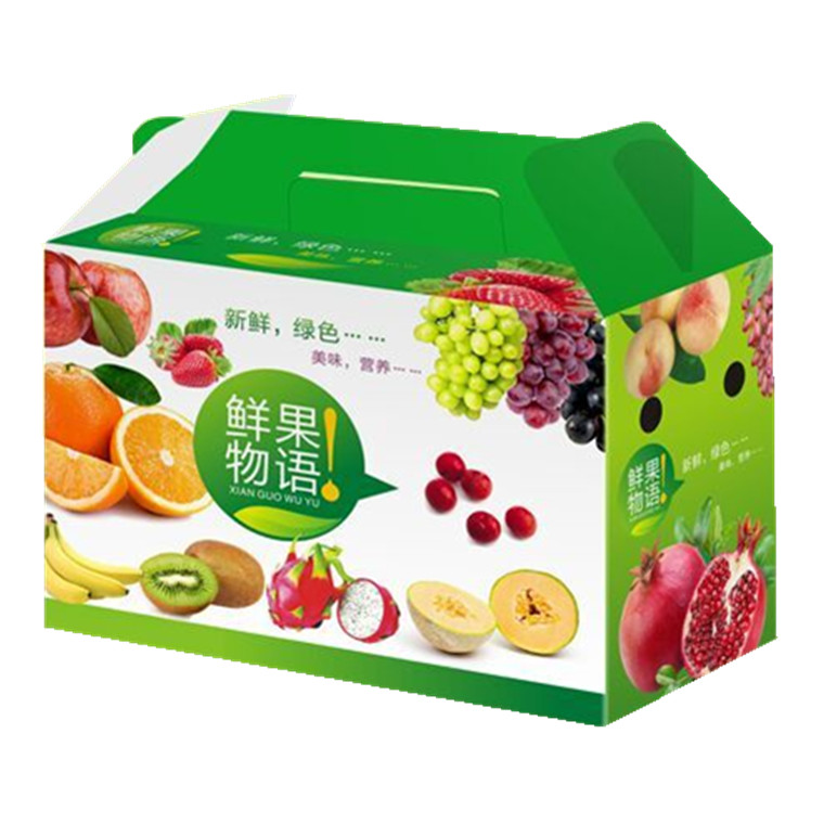 Corrugated Carton Paper Packaging Boxes Fruit Gift Box with Die-cutting Handles