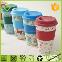 Biodegradable Plastic Resin Bamboo Fiber Coffee Cup With Silicon Lid and Band