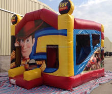 Toys story cartoon theme inflatable jumping bed/inflatable bouncer with slide,set trampolines slide for kids and adults