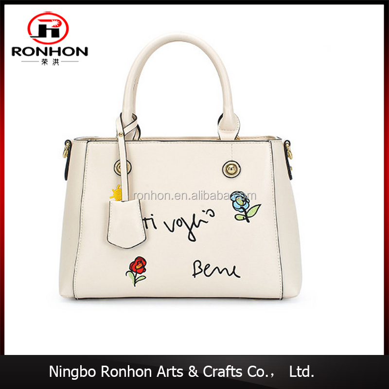 wholesale newest designer lady embroidery tote bag PU leather shopping handbag