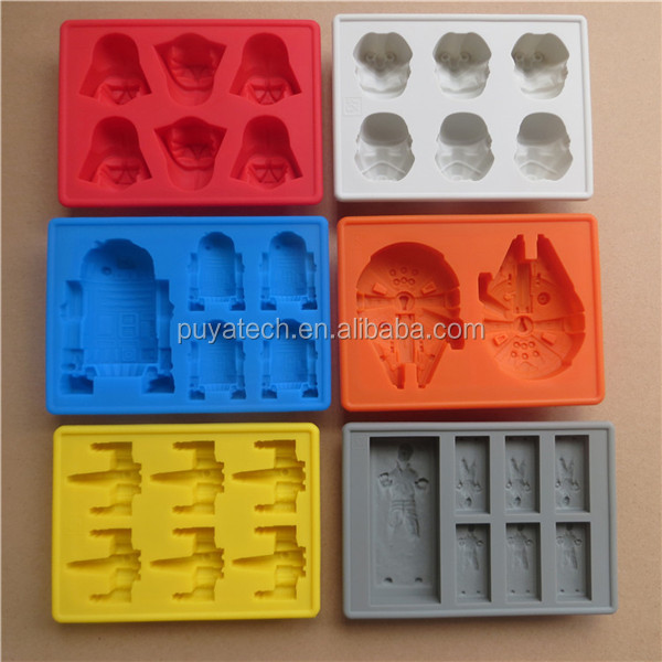 hot selling silicone ice cube tray silicone ice mold for star war 6 trays