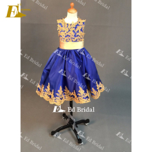 NN06 Beautiful Gold Appliqued Royal Blue Little Queen Real Sample Flower Girl Dress