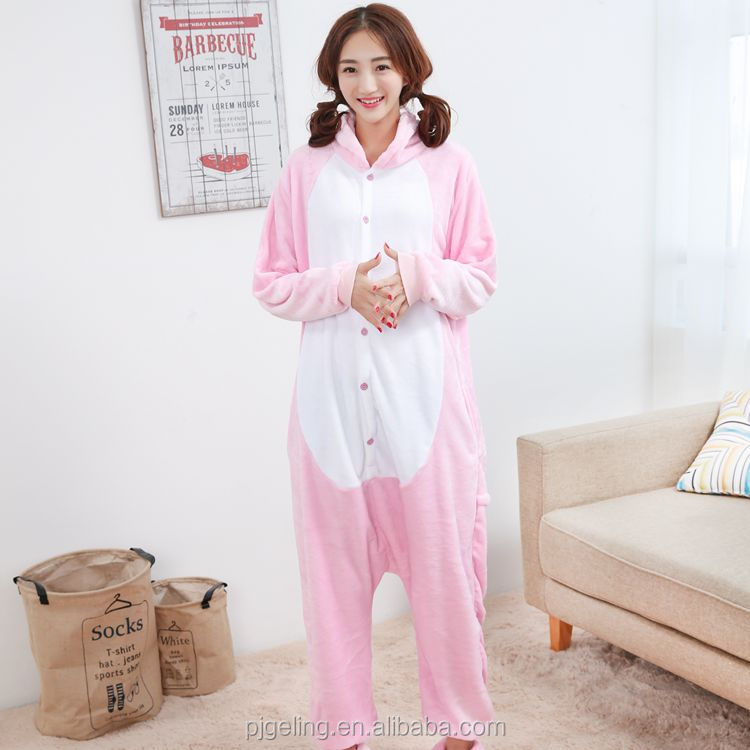 adult pajamas made in china,casual pink pig kigurumi jumpsuits pajamas