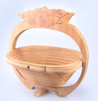 Wholesales! High quality Hand-made Moso Bamboo Vegetable Shaped Folding Fruit Basket
