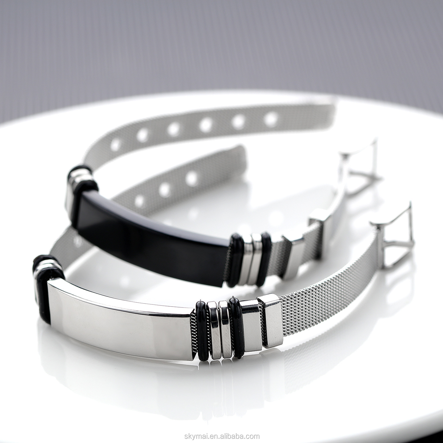 stainless steel smooth surface men mesh bracelet  jewelry custom name  bracelet for men