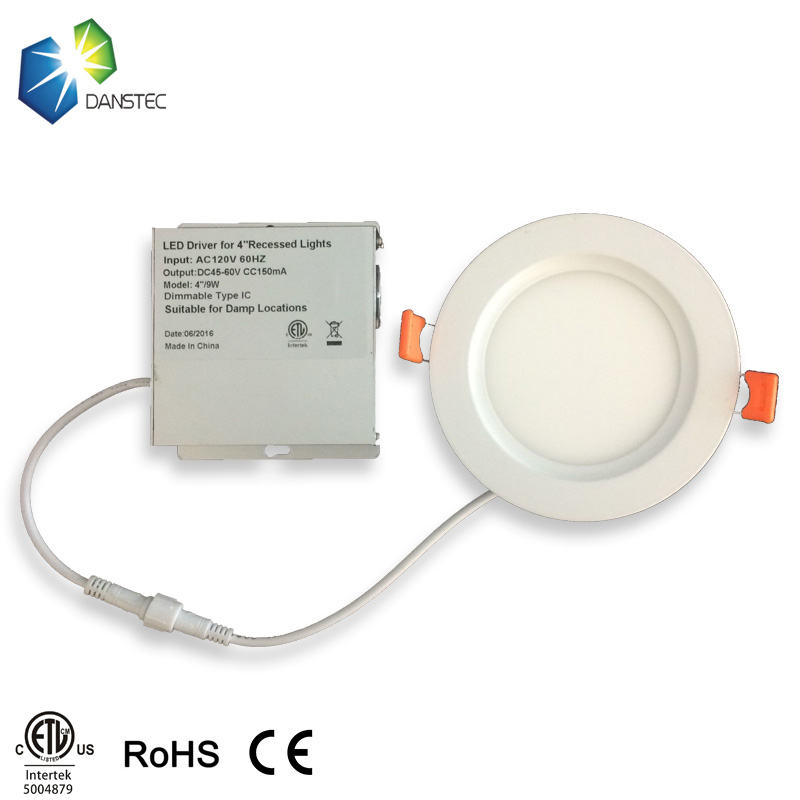 ETL(5004879) long lifespan recessed led slim down light 9w round led panel lights