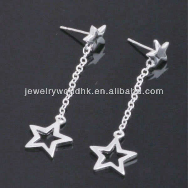 Fashion long chain pentgram costume dangle earrings