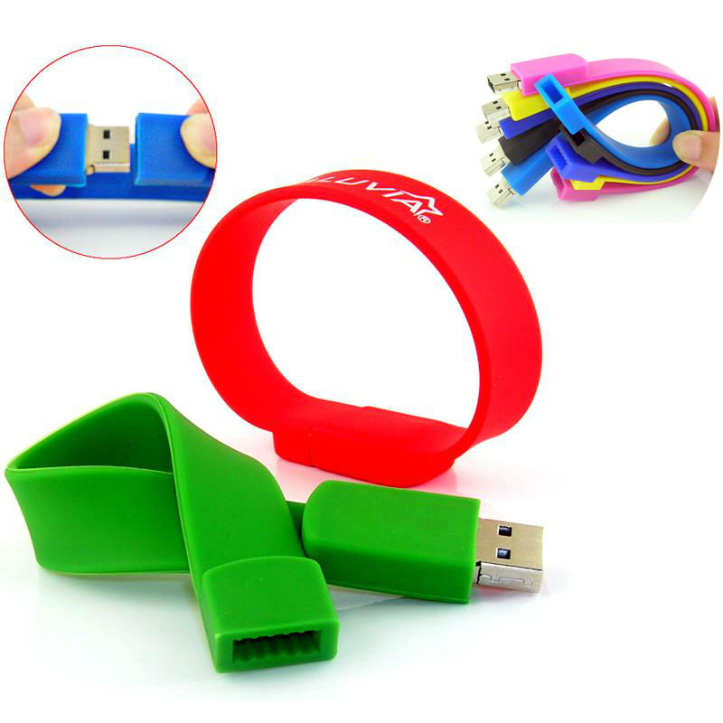 Full color wristband usb memory disk 32gb with logo