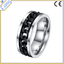 Black lord Stainless Steel Chain Rings for Anillos Spinner Men Jewelry