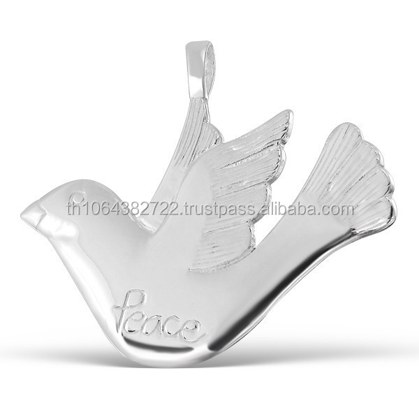 Dove Pendant Symbol of Peace Bird Plain High Quality Polished .925 Sterling Silver Charm Jewelry
