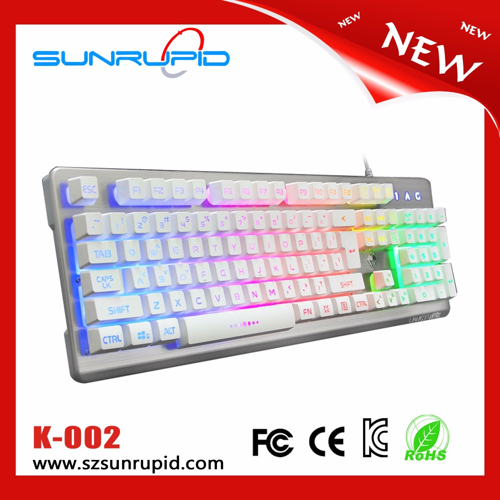 104 keys luminous and backlit gaming keyboard with double shot injection keycaps