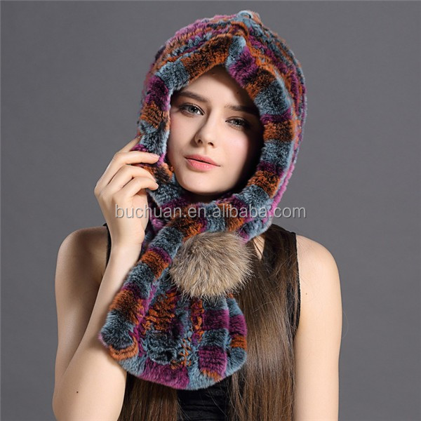 Rabbit Fur Hooded Scarf
