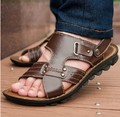 Latest 2017 beach sandals summer men leather sandals and slippers genuine leather sport sandal shoes for men