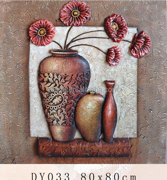flower and vase oil painting on canvas for gift