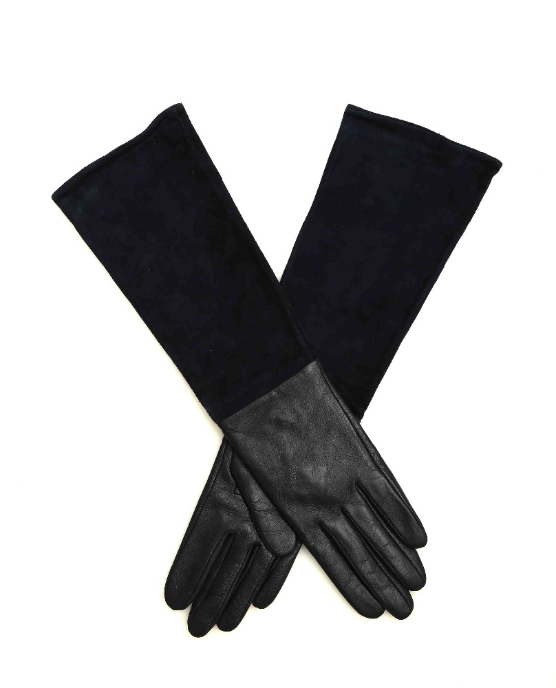 Fashion long black genuine leather gym gloves wholesale