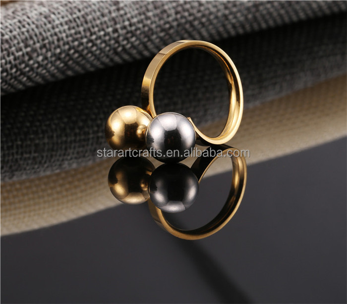 18k gold plated with black white pearl wedding ring engagement ring