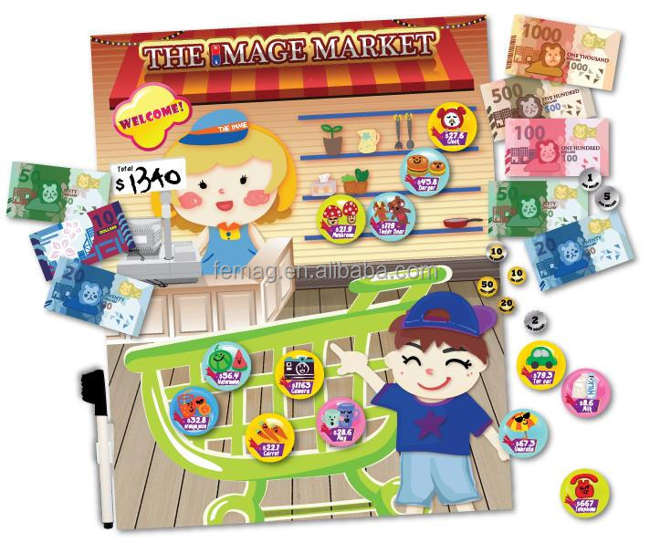 E1007 wholesales top quality for kids and child at home magnetic learning currency resources