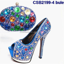 Many stones ornament CSB2199-4 bule high heel italian party wedding shoes and bag set