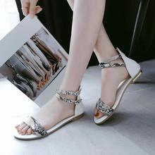 Fashion Women Summer Fancy Flat Heel Sandals Open Toes Strap Buckle Style Ladies Casual Dress Shoes