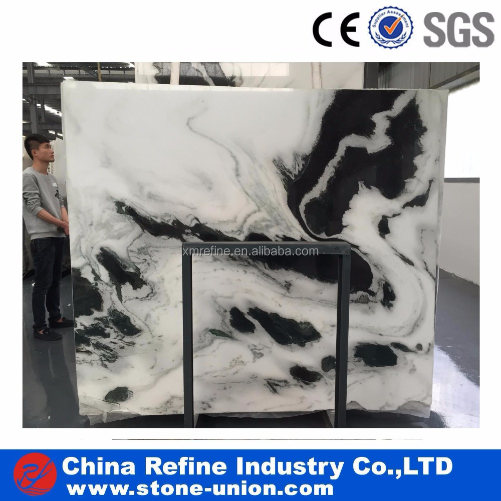 Panda white marble with black veins tile 12x12inch