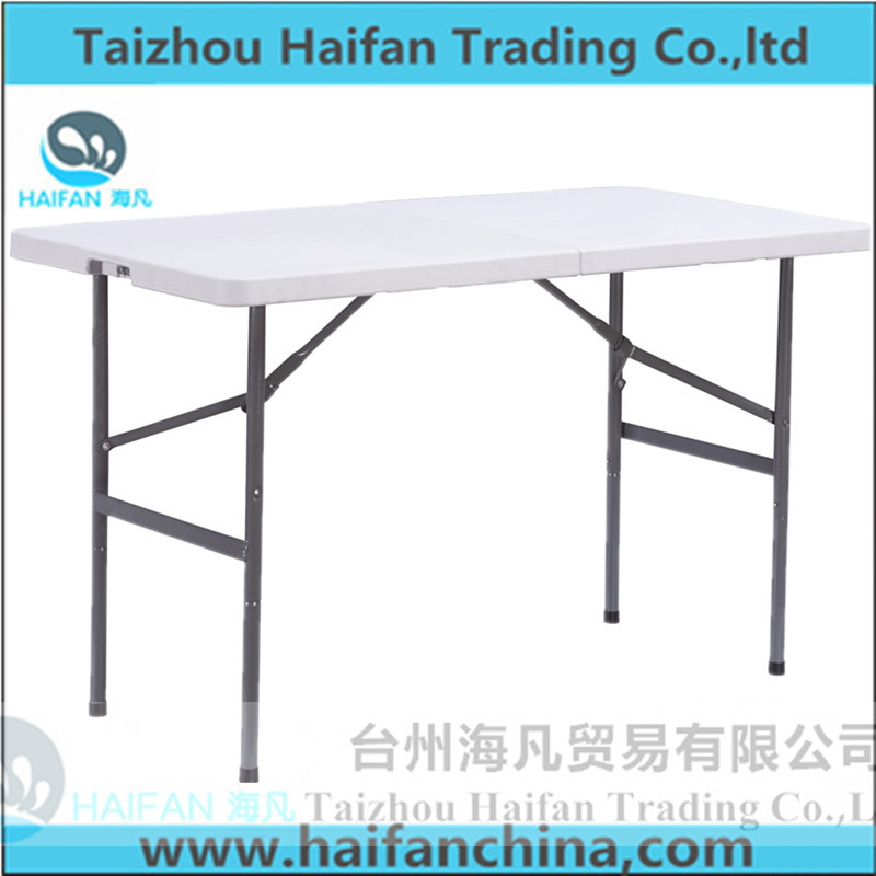 4ft outdoor camping table/folding in half table 122cm long fold up in 2pcs/outdoor leisure HDPE material high strength table