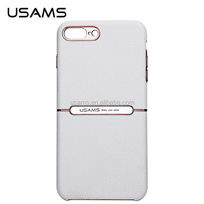 USAMS new products fashion design litchi pattern PU leather + eletric plating PC hard case back for iphone 7